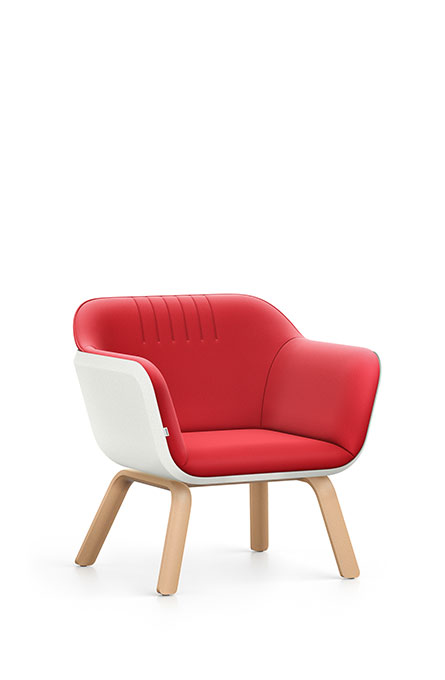Interstuhl HUB lounge stoel houten poten